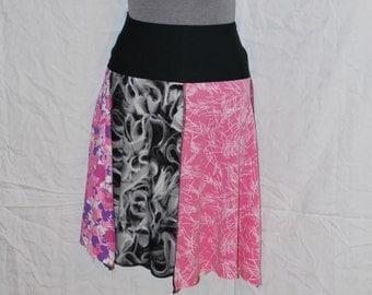 Recycled tee shirt skirt  small with rayon yoga style waistband