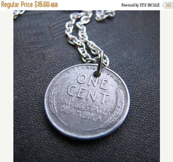 SALE 1943 steel penny necklace - silver penny coin jewelry