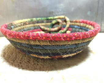 CottonPottery Scrappy Fabric Coiled Bowl/Basket