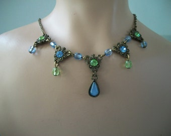 Green and Blue Crystal Floral lobster claw claspNecklace 1928 Company