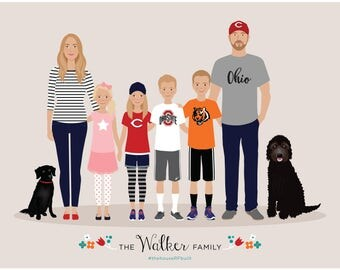 Custom Family Portrait Illustration, Additional Person