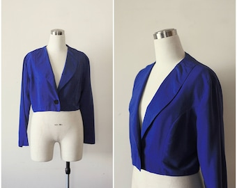 Free Shipping. 1980s Blue Cropped Jacket Rayon Crop Jacket, Blue Jacket Top Size 9 10
