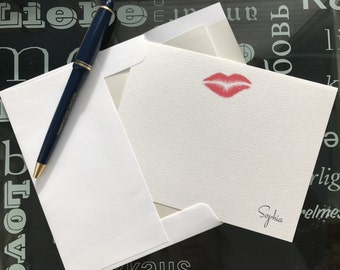 SWAK Personalized Note Card Set Thank You Love Initials Name Printed Card Set Writers Gift