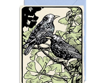 Two Starlings Perched in a Ginkgo - Set of 5 Cards with Envelopes