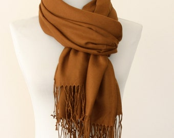 Pashmina scarf thick pashmina shawl cinnamon scarf dark camel wrap christmas gift for her bridal pashmina bridesmaids wrap wedding shawl