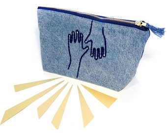 Hand Embroidered Denim Revival Pouch / Clutch Purse - recycled jeans patchwork standup pouch with zipper, fully lined