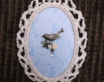 Petite Decor, Oval filigree Bird Assemblage, Shabby cottage,  vintage repurposed,shabby white and blue