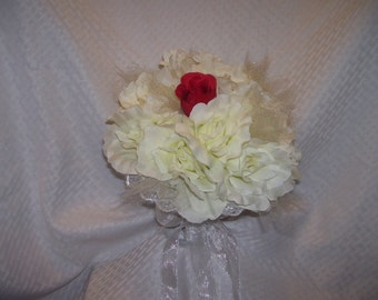 Ivory Bridal Bouquet Wedding Apple Red Rose Brides Maid Maid of Honor Wedding Party Reception