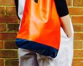 Handmade in UK Orange  Blue Two Tone Upcycled Bouncy Castle Vinyl PVC Eco Friendly Tote Shopper Bag