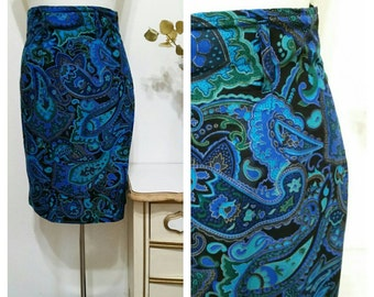 1980s Paisley High Waist Skirt, #63820