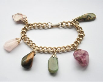 Vintage gemstone bracelet. Charm bracelet. Rose quartz. Tigers Eye