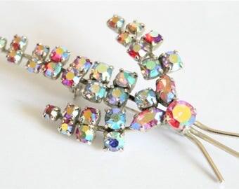 Vintage crystal brooch.  Rhinestone brooch. Aurora borealis brooch.  Vintage jewellery