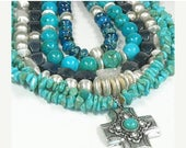 Real Turquoise Necklace, Genuine Turquoise, Multistrand, Multi Strand, Layered Turquoise, Chunky, Real Turquoise Jewelry, Statement, OOAK