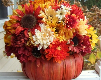 Fall Floral Arrangement - Thanksgiving Centerpiece - Pumpkin Floral Arrangement - Fall Centerpiece - Table Centerpiece