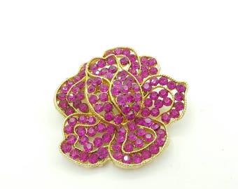 Weiss Bright Pink Flower brooch