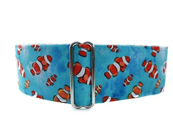 2 inch Martingale Collar, Clownfish Martingale Collar, Clownfish Dog Collar, Martingale Collar Greyhound, Fish Martingale, Fish Dog Collar