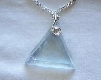 Natural Light Blue Fluorite Triangle Crystal Pendant
