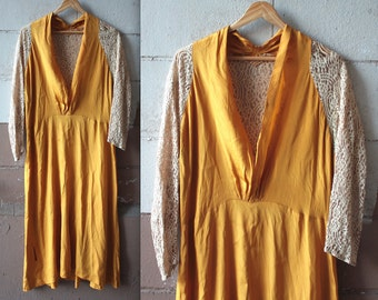 Rare Antique 1920s Dress // 20s Golden Yellow Silk and Cream Lace Evening Gown // Lace Back Cocktail Party Dress // DIVINE