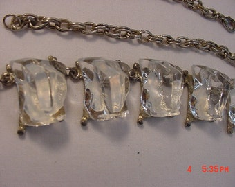 Vintage Big Chunky Ice Necklace & Clip On Earring Set   17 - 55