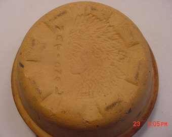Vintage Miniature Stoneware Pottery Baking Crock National Indian Blue Glaze  17 - 364