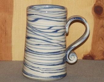 Original Pottery Large Coffee Cup Hand Thrown using blue and white clays..... Agateware 23 oz