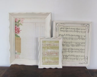 Picture Frame Set, Antique White Picture Frames, Wedding or Nursery Frames, Cream Frame Collection