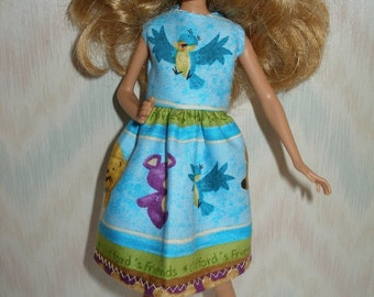 Handmade Stacie clothes - blue with animals print dress