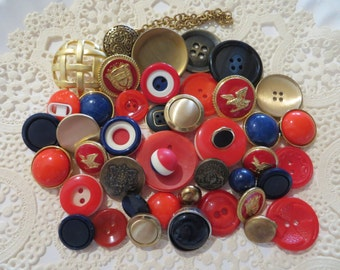 Vintage Red White and Blue Buttons-Lot-Craft-Sewing-Patriotic-Crest-Military