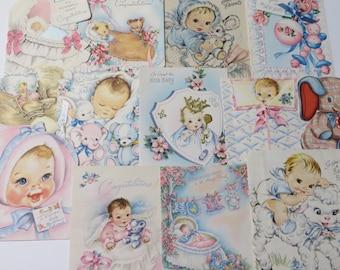 Vintage Greeting Cards Lot-Ephemera-Mixed Media-Paper-Crafts-Scrap Booking-Baby-Childrens-Set of 13