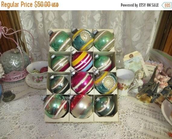 ON SALE Vintage Shiny Brite Christmas Ornament Lot-Just Stripes