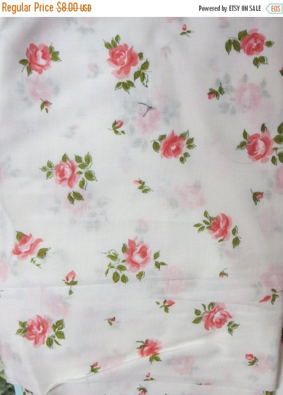 ON SALE Vintage Pink Roses Fabric-BTY