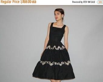 40% Limited time SALE  - Black Vintage 1940s Dress - 1940s Black and White Cotton Dress - Vintage 40s Dresses -