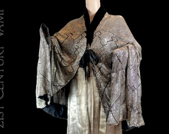 RARE 1920s Assuit Coat with Lame lining. Flapper Cocoon Cape. Black Velvet collar. Silk border & ties. Museum Quality. Jazz Age. Art Deco.