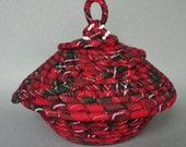 Christmas basket, Repurposed, flannel basket
