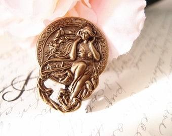 Mythical goddess Aligator Clip-aged brass-bridal-medieval-shabby chic-steampunk-mythology V011