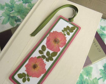 Laminated Bookmark Pressed Flower Dark Pink Rose and Rose Leaves