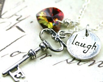 ON SALE Laughter is the Key to Life Charm Necklace in Volcano - Sterling Silver and Swarovski Crystal