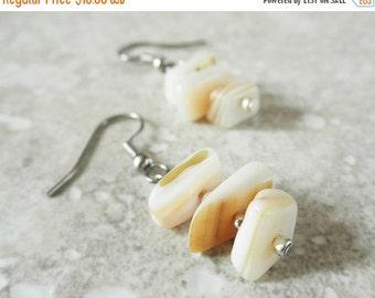 50% OFF SALE Shell Earrings. Cream Shell Nugget Earrings. Drop Earrings. OOAK