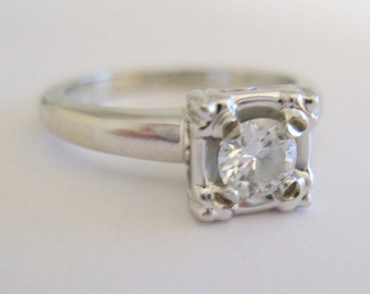 Stunning Transitional Cut .28 Carat  Diamond Solitaire Wedding or Engagement Ring in Solid 14 Karat White Gold