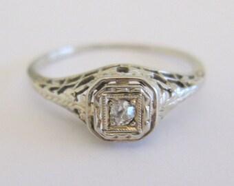European Cut Diamond in Art Nouveau / Art Deco 14 KWG Filigree Wedding Engagement Anniversary Right Hand Ring
