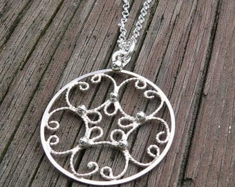 10 dollars off: Everday Filigree.  A Sterling Necklace.