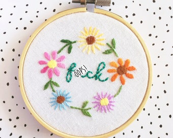 F*ck Hand Embroidery Wall Hoop