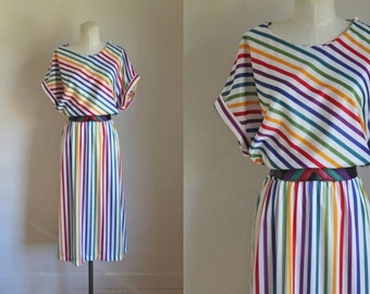 vintage 1970s dress - END of RAINBOW striped belted dress / XL