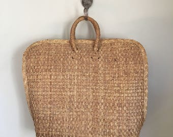 RESERVED /////vintage straw purse - DRIFTWOOD natural woven market bag