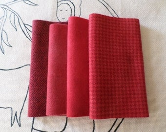 """Hand Dyed Wool Bundle """"Rose Madder"""" Rug Hooking, Applique, Penny Rugs,Textile Arts"""