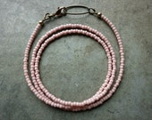"Pale Pink Beaded ""Chain"" Necklace"