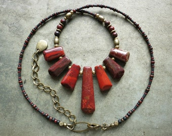 Red Jasper Statement Necklace, elegant red and gold tribal beaded fan necklace with graduated stone focal