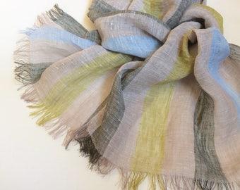Striped linen scarf, mustard blue gray cream men's scarf, long frayed women's shawl, unisex summer gift