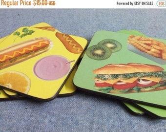 10% OFF SALE 1980s Food Coasters