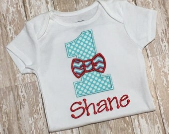 Bow Tie Applique Embroidery Birthday Shirt or Bodysuit